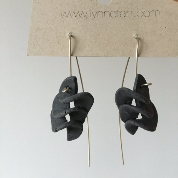Lynne Tan - Porcelain Earrings  Triple S in Charcoal Gray