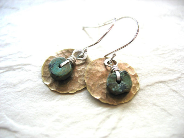 Jaclyn Dreyer - Turquoise and Hammered Brass Disc Earrings