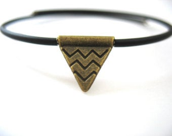 Jaclyn Dreyer - Triangle Antiqued Brass Bounce Back Bracelet