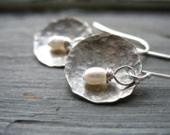 Hammered Silver Disc with Freshwater Pearl Earring
