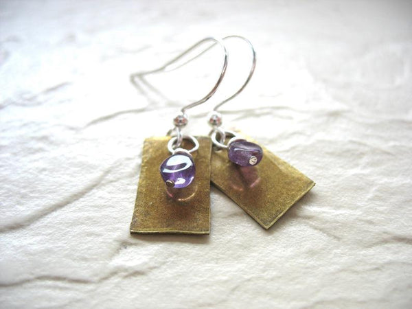 Jaclyn Dreyer - Amethyst and Brass Drop Earrings