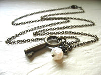Jaclyn Dreyer - Skeleton Key, Hematite & Pearl Necklace