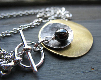Hematite Gemstone and Metal Necklace