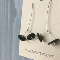 Lynne Tan - Porcelain Earrings Double Disc - Charcoal Gray