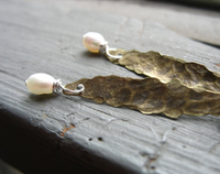 Hammered Antiqued Brass Drop Earring with Pearl