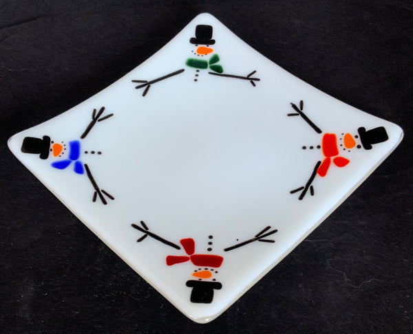 Caryn Brown - Glass Snowman Dish - Large