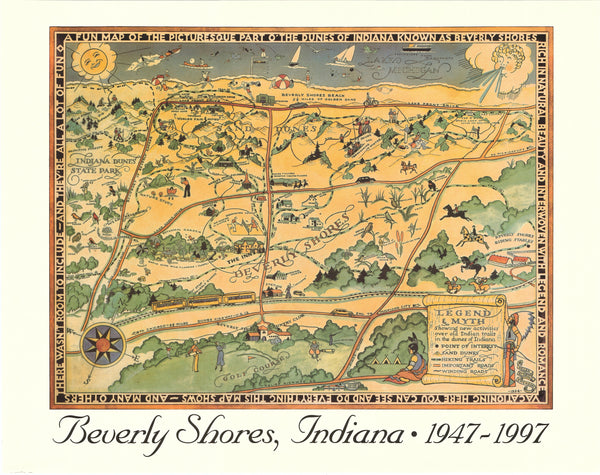 Beverly Shores Fun Map Commemorative Poster