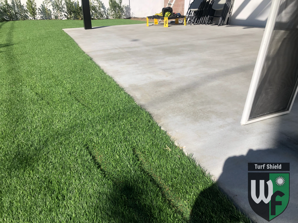 Melting trails in artificial turf