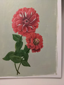 Day 1 Zinnias | 9X12 inch original painting