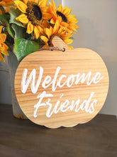 Load image into Gallery viewer, Pumpkin sign | Welcome Friends- white