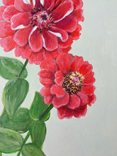 Load image into Gallery viewer, Day 1 Zinnias | 9X12 inch original painting