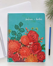 Load image into Gallery viewer, Floral sketchbook, sketches & doodles sketchbook