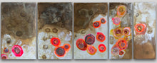 Afbeelding in Gallery-weergave laden, FIVE PANEL 130|50 |MOVING DOTS| RED|ORANGE  I  ENCAUSTIC