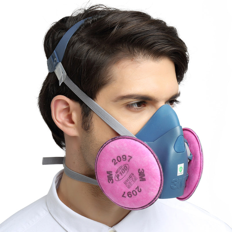 3M Half Facepiece Reusable Respirator 7502 + P100 Particulate Filter 2097 (Pair) Set