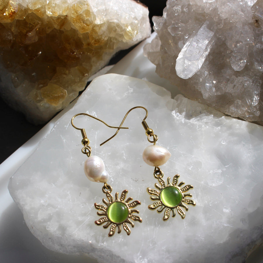 Magic Sun Earrings with Freshwater Pearl