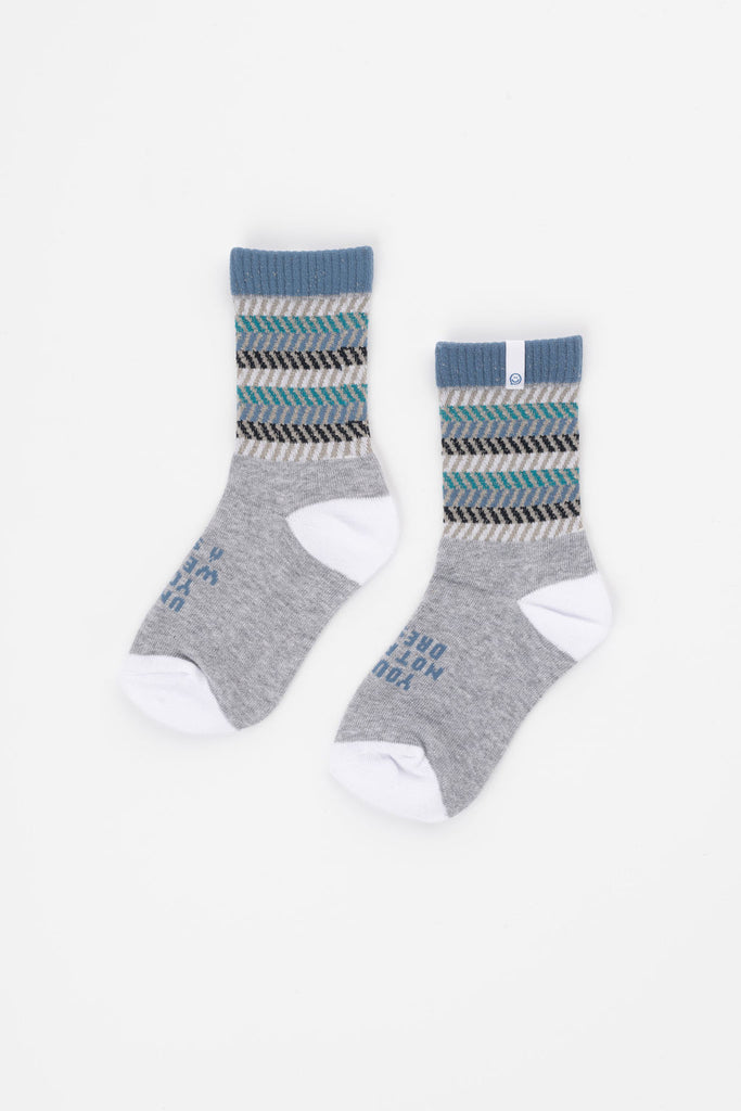 Posisocks boy's grey marle ribbed sock