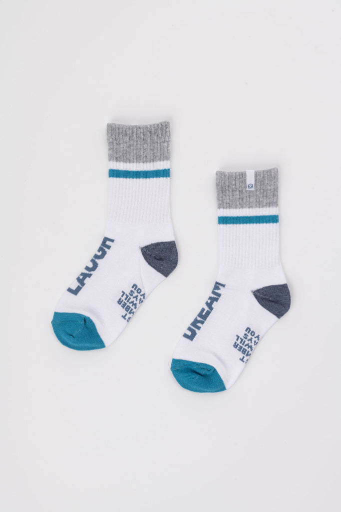 Posisocks boy's white ribbed sock