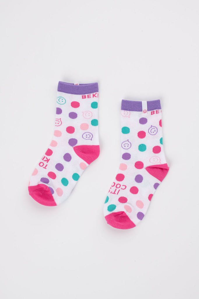 Posisocks girl's white dot sock