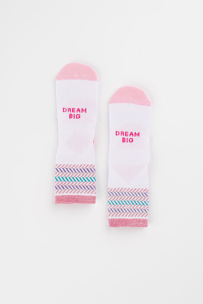 Posisocks girl's white zig zag sock