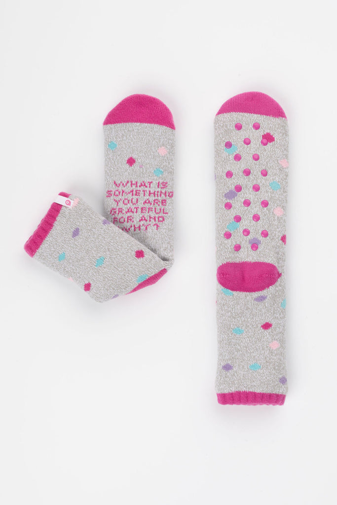 Posisocks women's grey polka dot bed socks