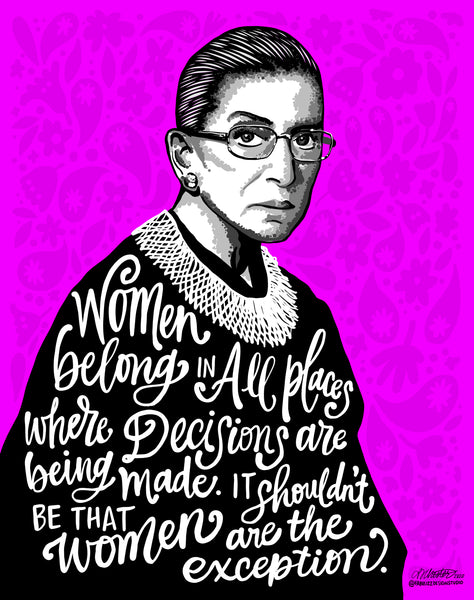 "ART PRINT - Ruth Bader Ginsberg - RGB - Women Decisions - Print - 11"" x 14"""