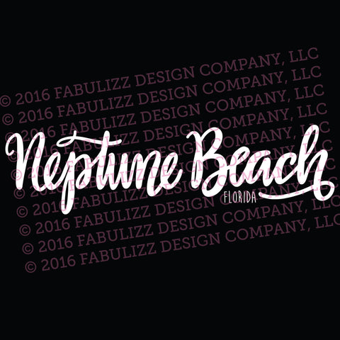 "White Vinyl Decal  - ""Neptune Beach"" Florida"