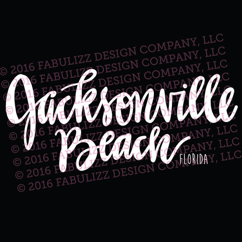 "White Vinyl Decal  - ""Jacksonville Beach"" Florida"