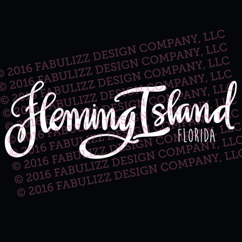 "White Vinyl Decal  - ""Fleming Island"" Florida"