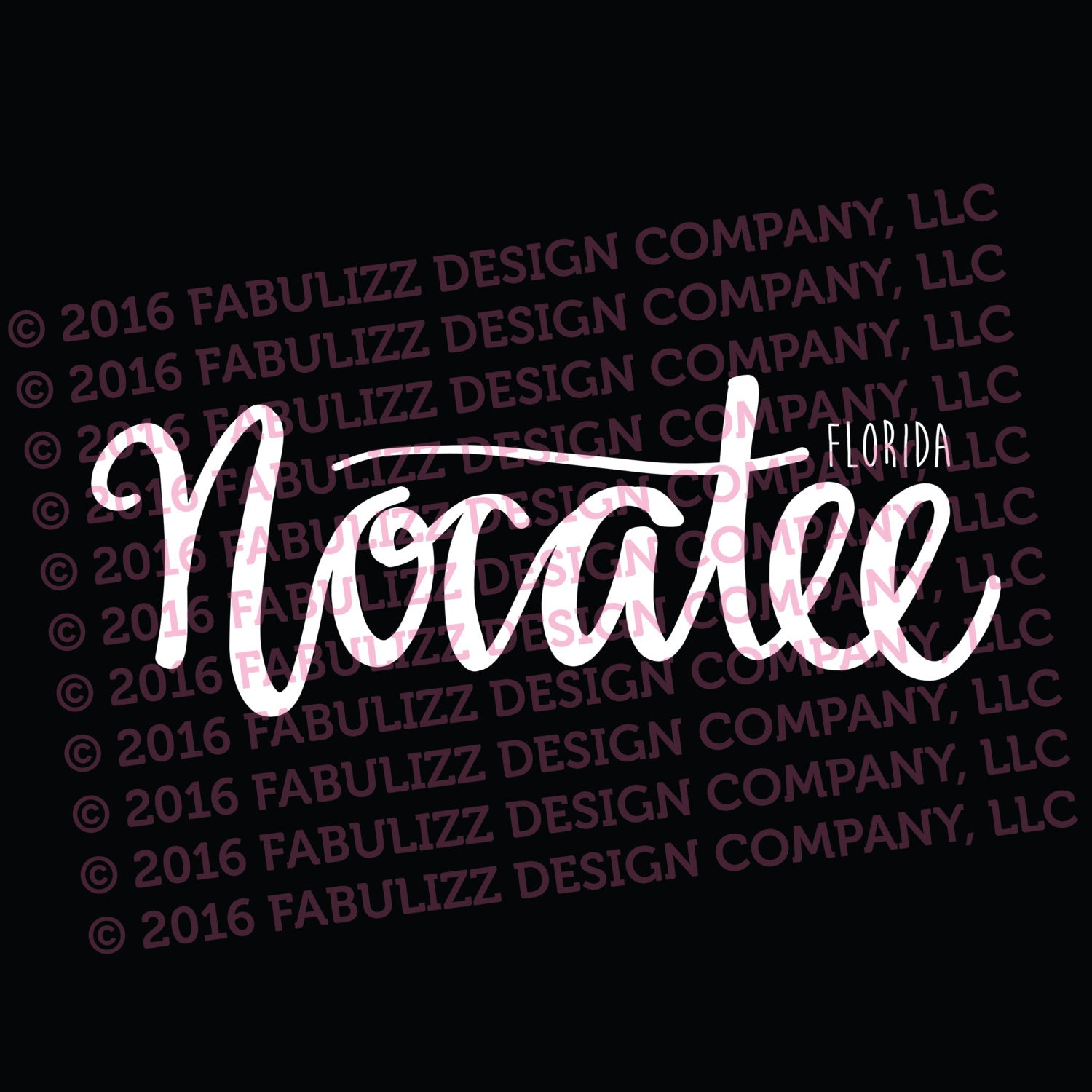 "White Vinyl Decal  - ""Nocatee"" Florida"