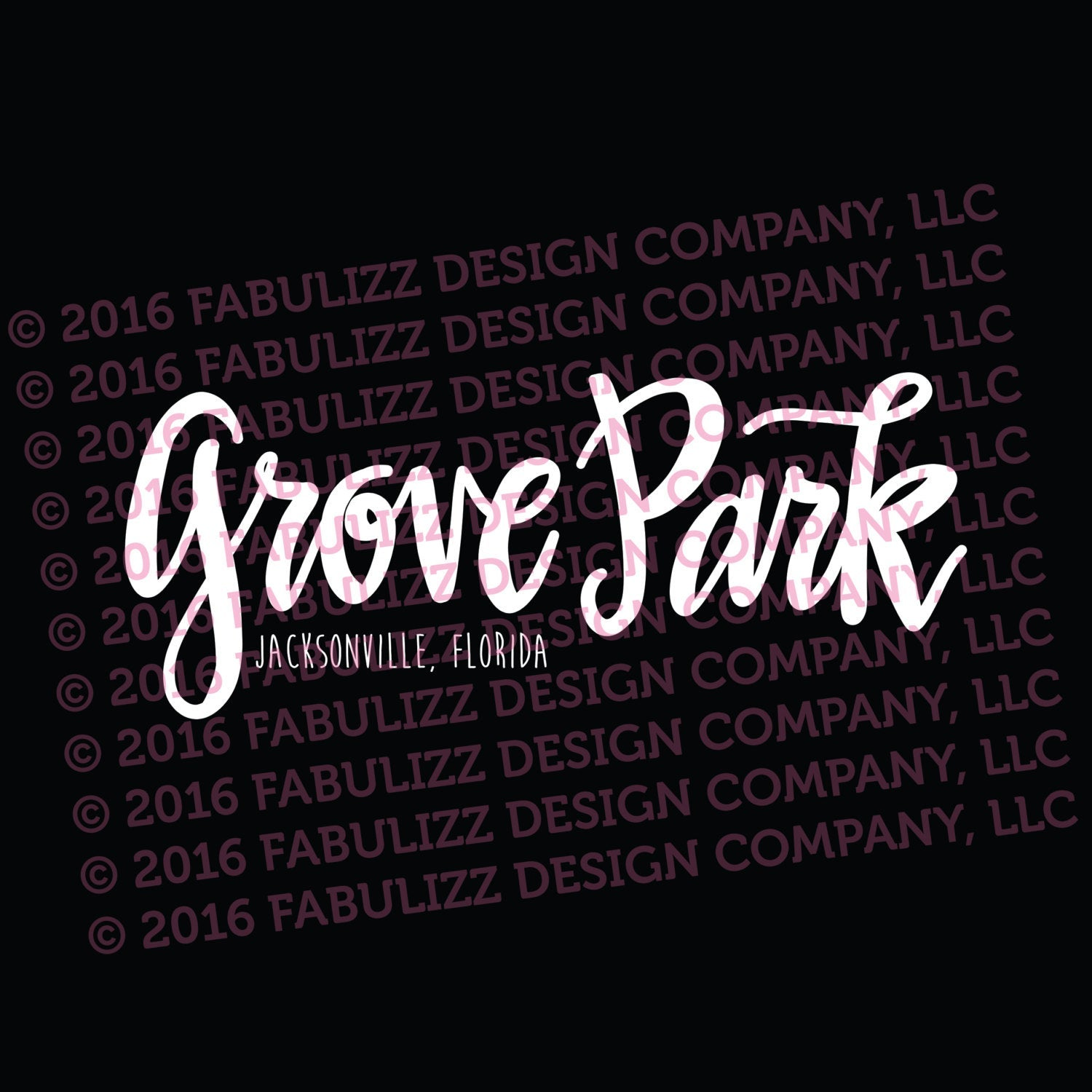 "White Vinyl Decal  - ""Grove Park"" Jacksonville, Florida"