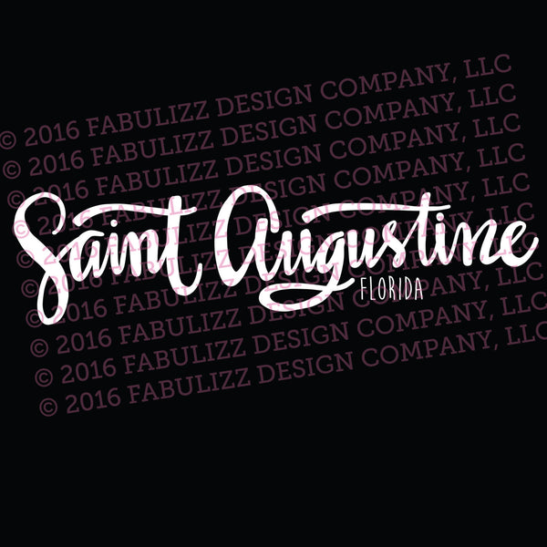 "White Vinyl Decal  - ""Saint Augustine"" Florida"