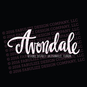 "White Vinyl Decal  - ""Avondale Historic District"" Jacksonville, Florida"