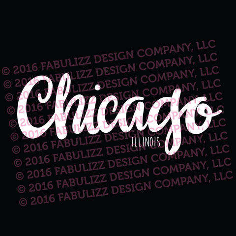"White Vinyl Decal  - ""Chicago, Illinois"""