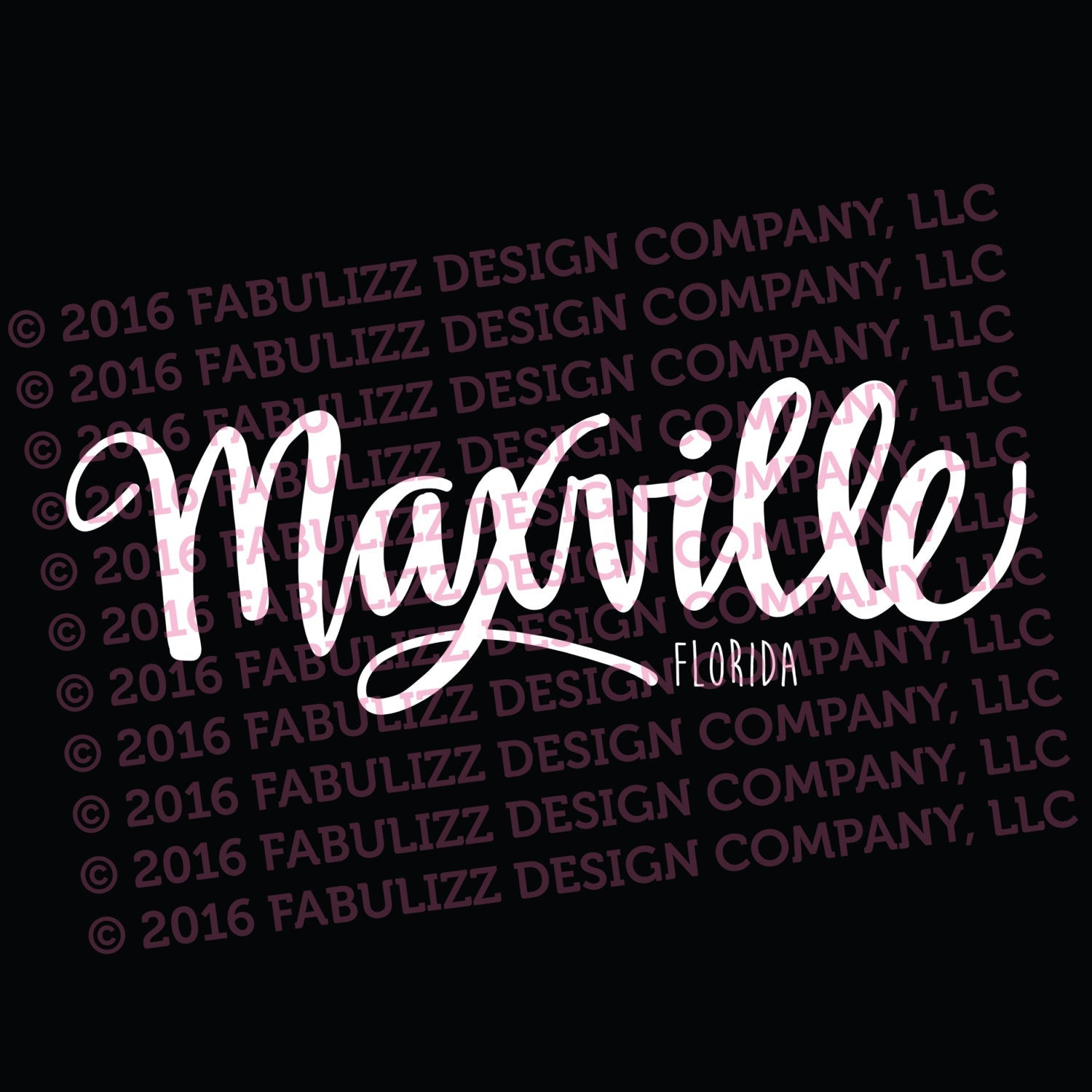 "White Vinyl Decal  - ""Maxville"" Florida"