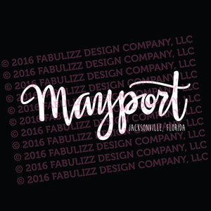 "White Vinyl Decal  - ""Mayport"" Jacksonville, Florida"
