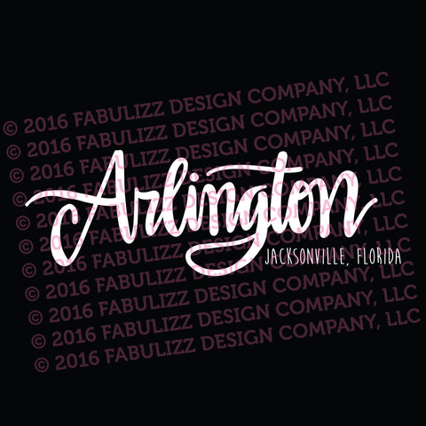 "White Vinyl Decal  - ""Arlington"" Jacksonville, Florida"