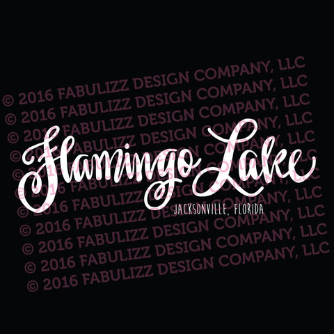 "White Vinyl Decal  - ""Flamingo Lake"" Jacksonville, Florida"