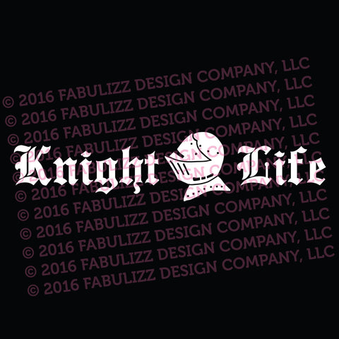 "White Vinyl Decal  - ""Knight Life"""