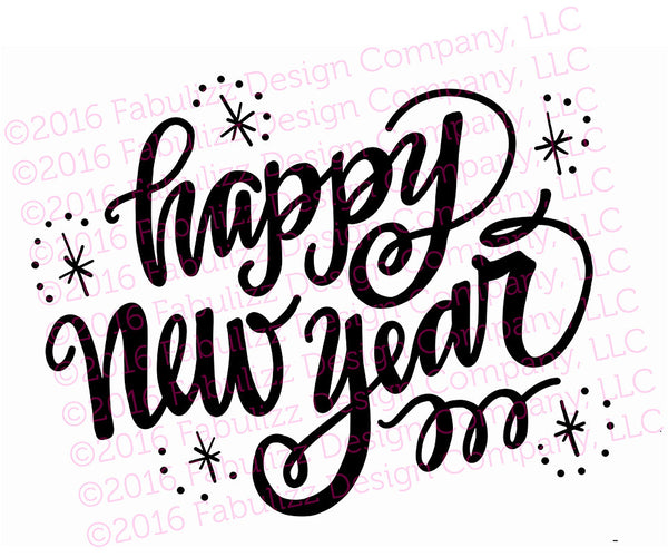 "Happy New Year - Typographic Illustration - 10"" x 8"" -  SVG File for CRICUT"