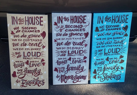 "Canvas Painting - ""In This House"" - 12"" x 20"" - Custom Order"