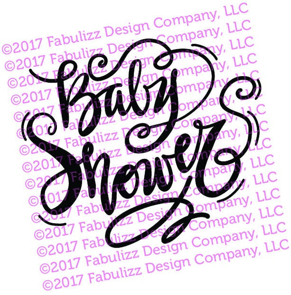"Baby Shower - Typographic Illustration - 8"" x 8"" -  SVG File for CRICUT"