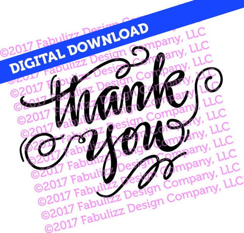 "Thank You - Typographic Illustration - 8"" x 8"" -  SVG File for CRICUT"