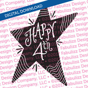 "Happy Fourth - Happy 4th - Typographic Illustration - 8"" x 8"" -  SVG File for CRICUT"