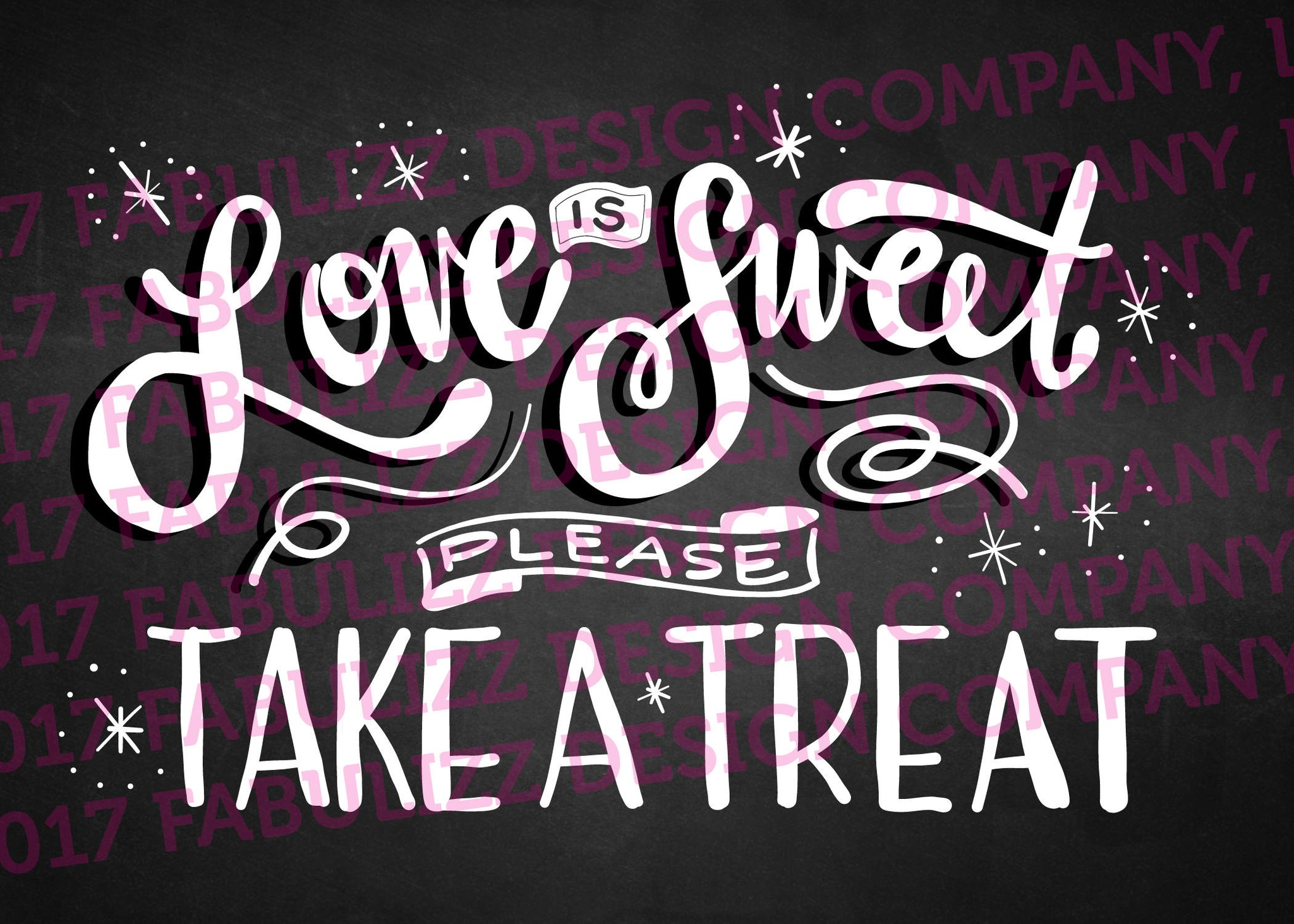 "Wedding Sign - Love us Sweet Please Take A Treat - Digital Art - 5"" x 7"""