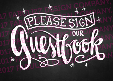 "Wedding Sign - Please Sign Our Guestbook - Digital Art - 5"" x 7"""