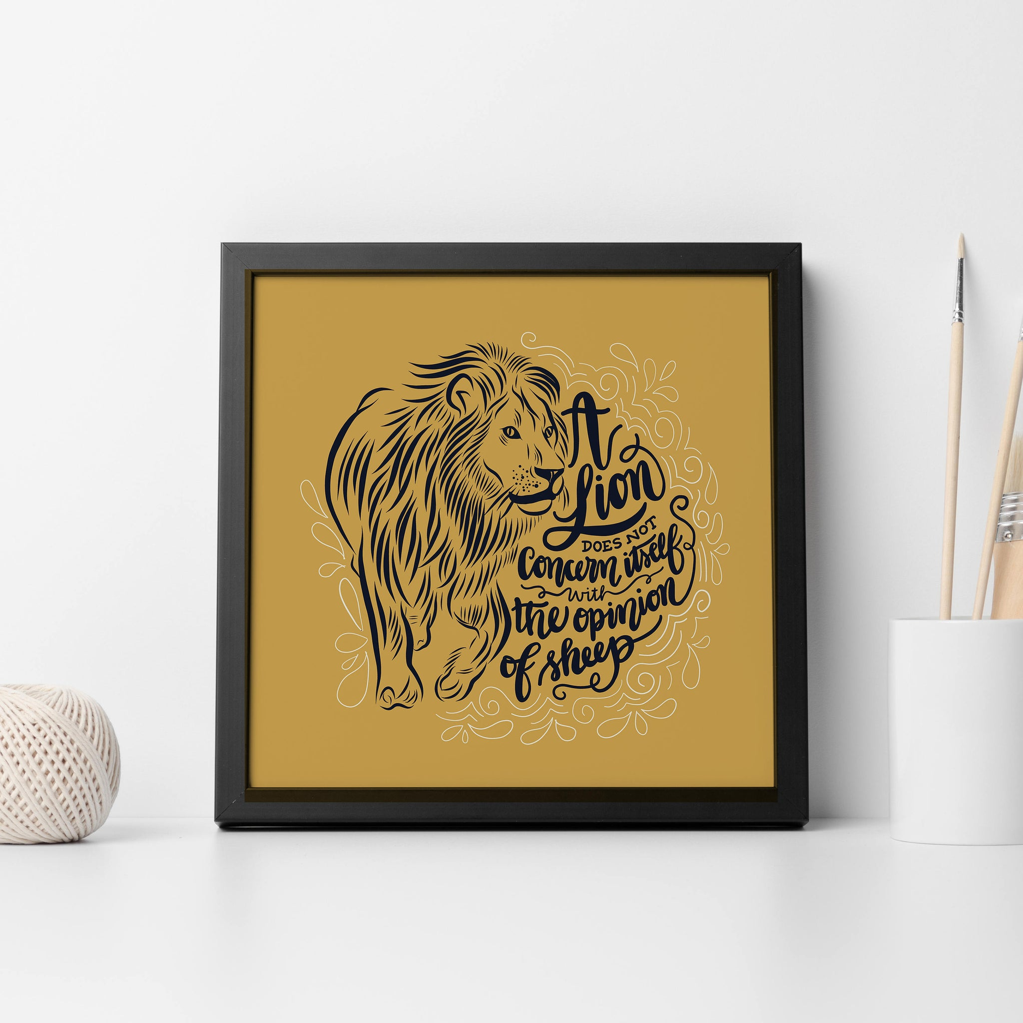 "A Lion Does Not Concern Itself With The Opinion of Sheep - Illustration - Digital Art - 12"" x 12"""