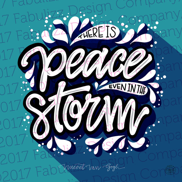 "ART PRINT - There Is Peace Even In The Storm - Illustration - 12"" x 12"""