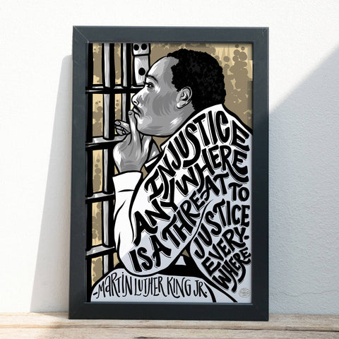 "ART PRINT - Martin Luther King, Jr. Injustice - Illustration - 11"" x 17"""