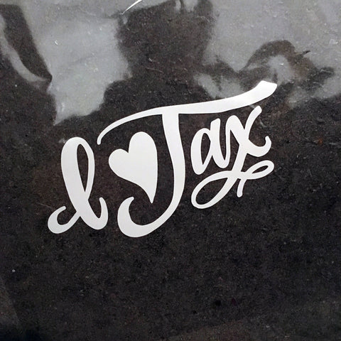 "White Vinyl Decal  - ""I Love Jax"" Jacksonville, Florida"