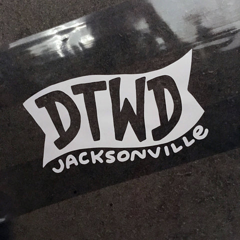 "White Vinyl Decal  - ""DTWD""  Duval Til We Die, Jacksonville, Florida"
